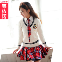Brand LEHNO Fashion School Uniforms High School Sets Autumn &Spring Knitted Sweater Student Clothing 4pcs Suits