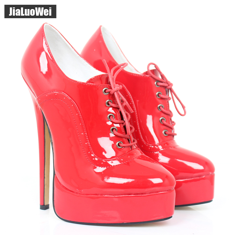 NEW 18cm Heel Fettish high heel Womens Pumps High Top Shoe Platform Stiletto Heels Lace Up