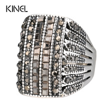 Kinel Punk Rock Black Crystal Rings For Women Vintage Wedding Party Accessories Love Gift Fashion Big Butterfly Ring