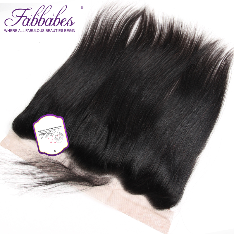 Fabbabes Hair Peruvian Straight 13X4 Lace Frontal Middle Free Part Remy 100% Human Hair Closure Natural Color 10-20 Inch