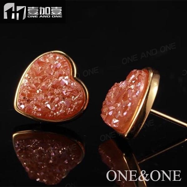 ✓Grosir bentuk hati orange 10mm druzy handmade stud earrings - a44 20d0fb0534