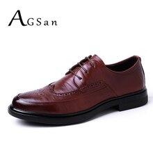 Agsan Пояса из натуральной кожи мужские оксфорды Обувь в деловом стиле Винтаж броги Мужская обувь Кружево до итальянский Официальные ботинки мужская обувь