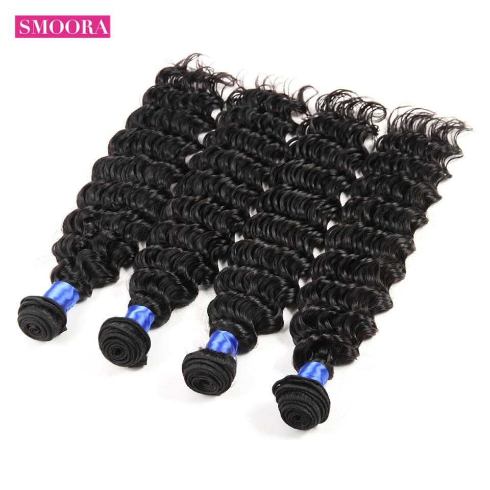 Smoora Hair Pre-Colored  Deep Wave 4 Bundles Deal Natural Black Non  Curl  s Crochet 10-28 inch 2