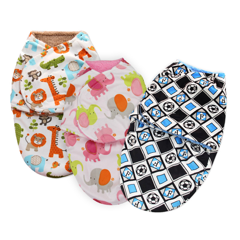 Winter Warm Double Layer Thick Fleece Infant Baby Swaddle Wrap Soft