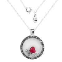 Large FANDOLA Floating Locket Pendant & Necklace With Love Feelings Petites 100% 925 Sterling Silver Jewelry Free Shipping