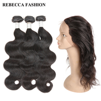 Rebecca Peruvian Body Wave 360 Lace Frontal With Bundle Remy Human Hair 3 Bundles Lace Closure