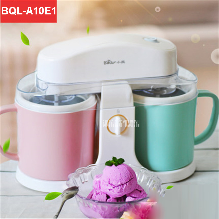 BQL-A10E1 220V/50 Hz Home automatic double barrel ice cream machine large capacity children fruit self - made ice cream  1000ml edtid ice cream machine household automatic children fruit ice cream ice cream machine barrel cone machine