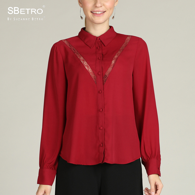 e6846841 SBetro By Suzanne Betro Burgundy Lace Inset Button Down Shirt Blouse Top  Long Sleeve Office Women Ladies Femme XXXL Plus Size