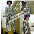 Hombre de nueva Zhi-long rayas verticales blancas y negras de los trajes del cantante DS bar discoteca DJ delgado trajes de la etapa ropa ( suit + pants )