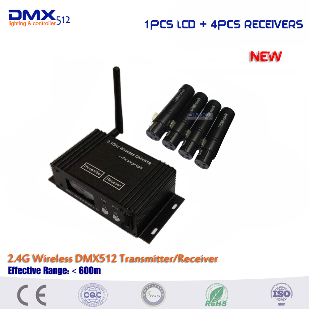 Dhl free shipping New 1pcs 2 4Ghz LCD Display dmx wireless transmitter and 4pcs Female DMX