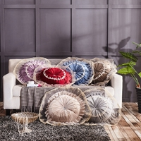 European High Quality Luxury Velvet Cushion With Lace Round Handmade Throw Pillow Pleated Wheel Pumpkin Solid Color Seat Cushion