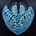 Lujo exagerado collar de la boda collar de los pendientes de Bling Cristal Piedras Africano Dubai sistemas de La Joyería Nupcial