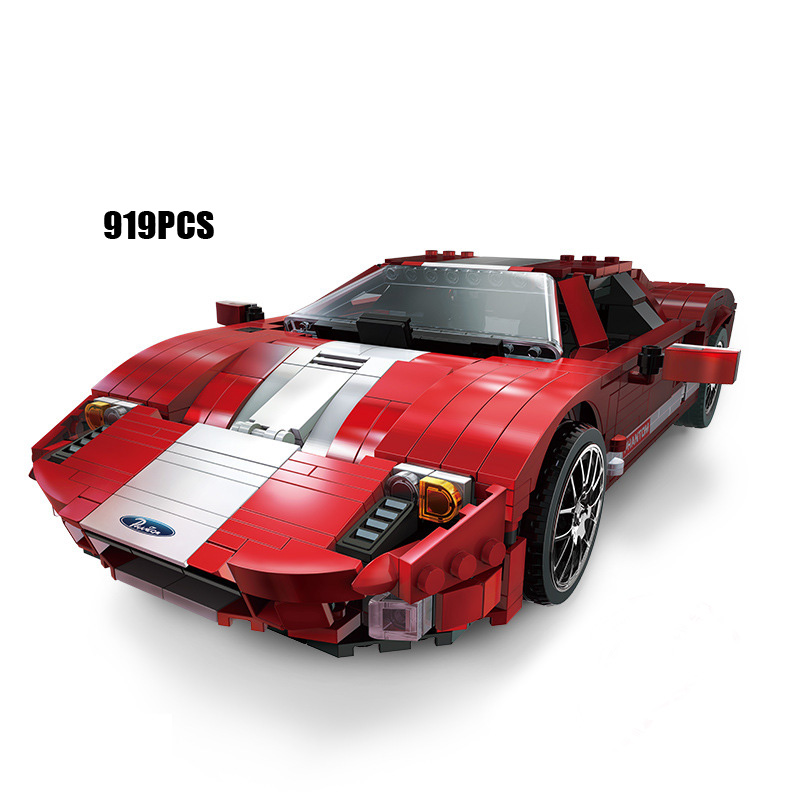 Hot dream cars 1:15 scale Fords Mustang red sports cars moc building block model bricks toys collection for adult kids gifts hot modern military china aircraft liangning varyag carrier moc building block 1 525 scale model 1355pcs bricks toys collection