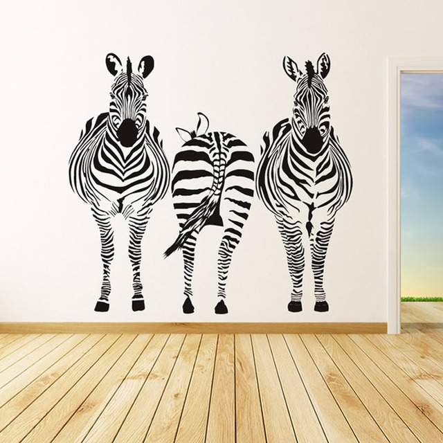 Three Zebra Wall Stickers Animal Removable Vinyl Wall Mural Decal  Waterproof Art Vinyl Decal For Living
