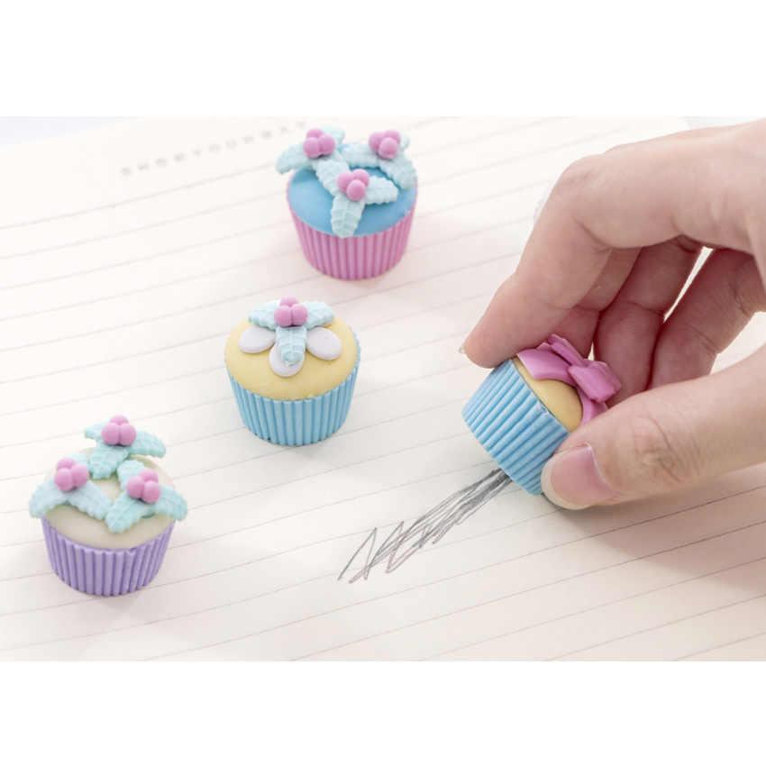 4 pçs/lote bonito fantasia sobremesa bolo lápis borrachas para escola de escritório crianças prêmio escrita desenho estudante presente