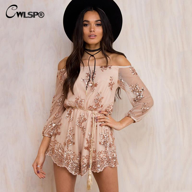 CWLSP Slash Neck Gold Sequin Playsuit Mesh Loose Jumpsuit Women Long Sleeve Sexy Overalls Lace Bodysuit Short combinaison femme