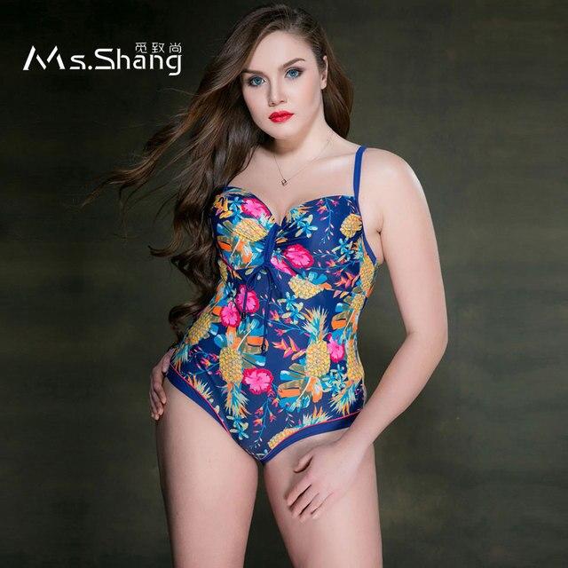 89bbf25725e9b MS SHANG Push Up Plus Size Swimwear One Piece Swimsuit 2017 Women Print Bathing  Suits Female Large Size Swimming Suits Blue 5XL