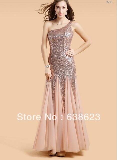 2fb2e6a29b AEL179 Elegant Full Figure Sequined One Shoulder Evening Dress-in ...