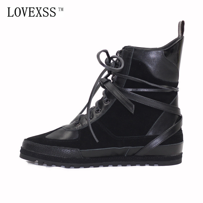 LOVEXSS Genuine Leather Chelsea Boots 2017 Autumn Winter Fashion Black Lace-Up Ankle Boots Full Grain Leather Punk Boots Shoe цены онлайн
