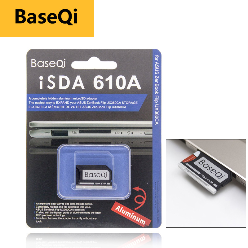 BaseQi pc card pcmcia Micro SD Card Adapter for Asus ZenBook Flip ux360CA compact flash adapter mercedes benz to memory psp