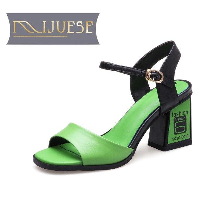 Mljuese 2018 여성 샌들 정품 가죽 스퀘어 발 뒤꿈치 발목 스트랩 녹색 색상 엿봄 발가락 하이힐 펌프 여성 크기 33 39-에서하이힐부터 신발 의  그룹 1