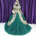 Vestidos de Noche para los Musulmanes Hijab 2016 Largos Vestidos De Noche Verde Esmeralda de Manga Larga Vestidos de Baile ZHP117