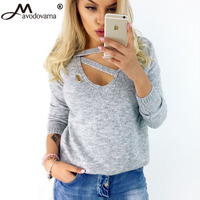Avodovama M Winter Shirt Long Sleeve Shirts V Neck Loose Female Sexy Top Women Casual Hollow