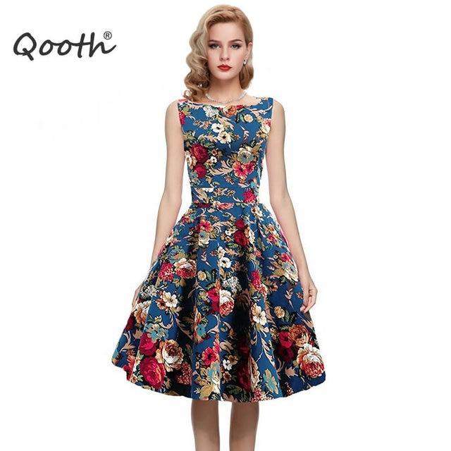 Qooth 2017 Summer Vintage Fl Print Cotton Dresses European Style Women Sleeveless Slim Pleated Dress Vestido
