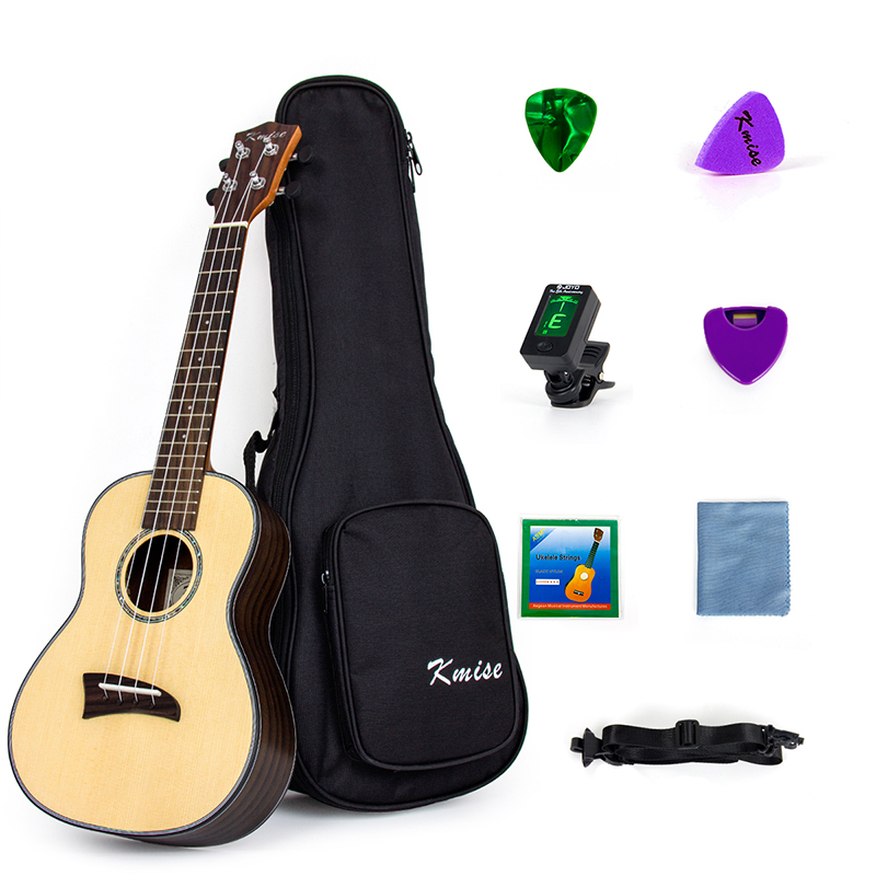 Kmise Solid Spruce Concert Ukulele Kit Ukelele Uke Hawaii Guitar 23 inch 18 Fret with Rosewood kmise soprano ukulele spruce 21 inch ukelele uke acoustic 4 string hawaii guitar 12 frets with gig bag