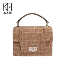 KAOGE Vegan & Eco-Friendly Hands-Free Handmade Natural Cork Luxury Vintage Metal buckle Handbags  Shoulder Bags rustic natural cork wallet for men cork vegan handmade casual wooden eco wallet from portugal bag 200