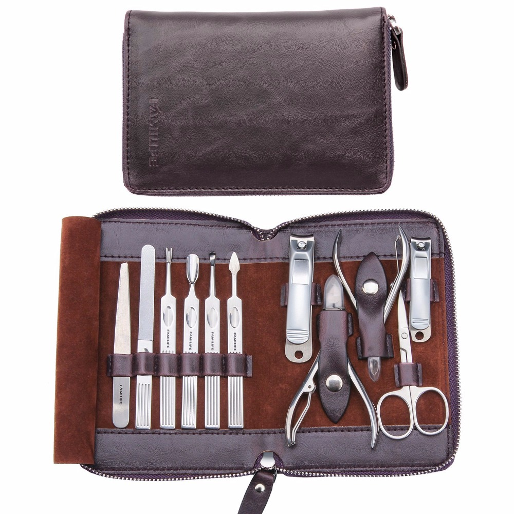 купить  11 in 1 Stainless Steel Manicure Set with Box Nail Care Tools with Mini Finger Nail Cutter Clipper L0323  онлайн