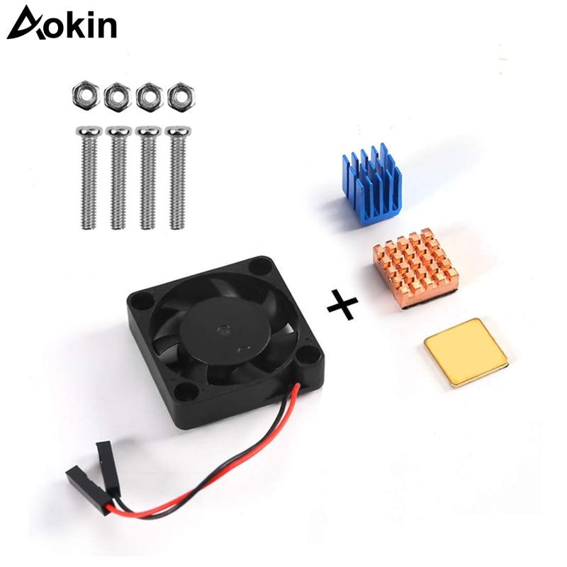 Raspberry Pi Fan Heatsink Kit For Cooling Cooler Raspberry Pi 3/2 Pi Model B+ Copper Aluminum Cooling Pad For Raspberry Pi 3/2