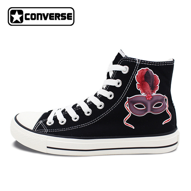 Men Women New Converse All Star Shoes Black Carnival Mask with Red Feathers High Top Black