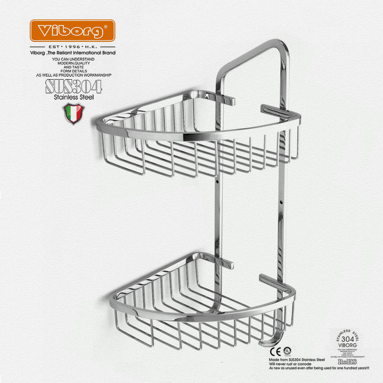 Viborg Deluxe Solid Thick 304 Stainless Steel Wire Double Tier Corner Shower Basket Shelf Tidy Rack