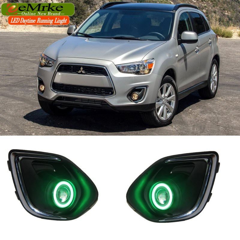 LED DRL For Mitsubishi Outlander Sport ASX COB Angel Eye Daytime Running Lights Halogen H11-55W Fog Light Cover eemrke led daytime running lights for mitsubishi grandis cob angel eye drl halogen h11 55w fog light