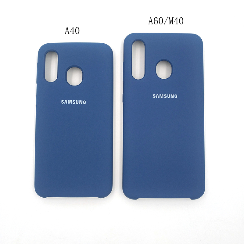 Image 2 - 100% Original Samsung A40 Liquid Silicone Case Protective Back Door Housing Cover For Galaxy A40 A60 M40 Mobile Phone With Logo-in Half-wrapped Cases from Cellphones & Telecommunications
