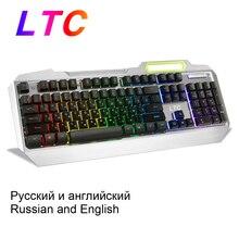 LTC Russian English Layout Keyboard RGB Backlit Mechanical Feel Gaming Full Size Ergonomic Anti Ghosting Gamer