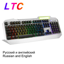 Russian English Layout RGB Backlit Mechanical Feel Gaming Full Size Ergonomic Keyboard Anti-Ghosting Gamer Backlight Waterproof