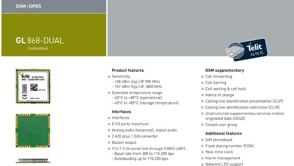 Gl868-dual / telit communications plc.