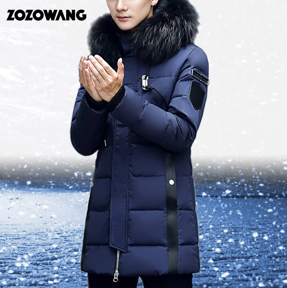ZOZOWANG Casual Parka Winter Duck Down Jacket Men Fur Hooded Long Windproof Solid Color Warm Thick Male Parka Winter Coat Men