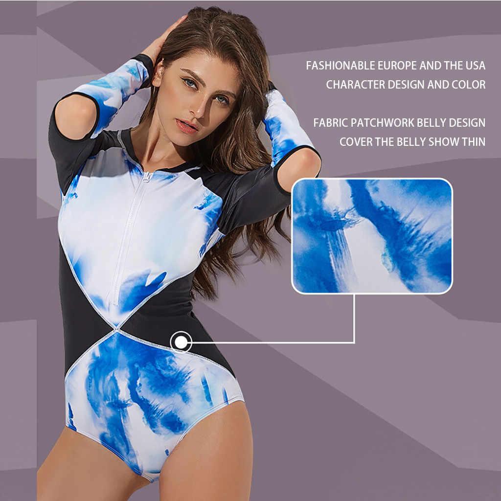 Terpisah Pakaian Renang Ruam Pengaman Lengan Panjang Zip UV Perlindungan Surfing Baju Renang Pakaian Renang Baju Renang