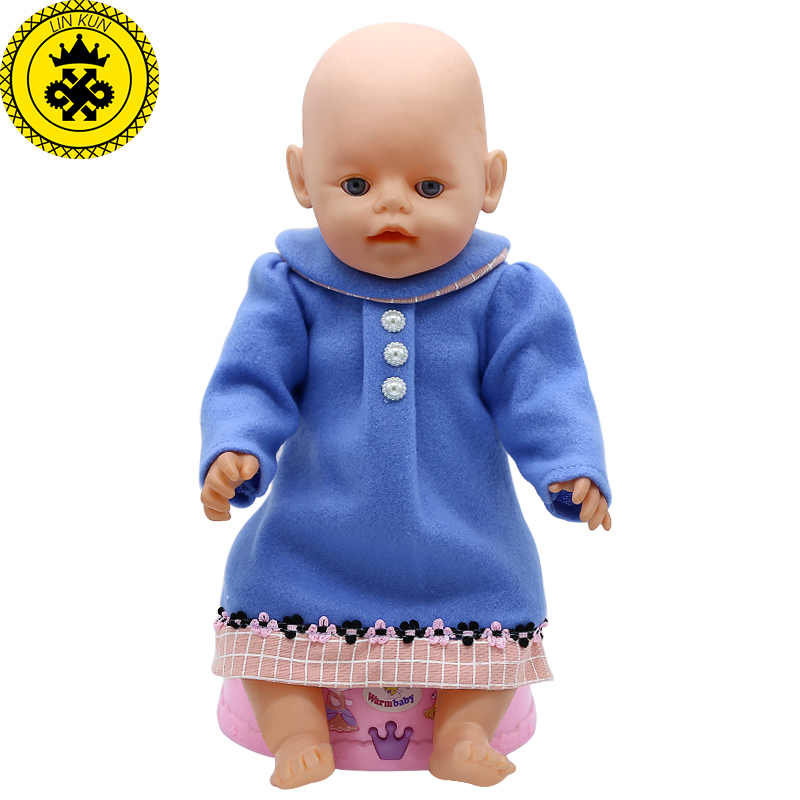 Baby Doll Clothes Winter Blue Dress Fit 43cm  Baby Doll Accessories Birthday Gifts 364