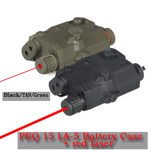 New Arrival PEQ 15 LA-5 Battery Case + Red Laser Sight For Hunting HS20-0025