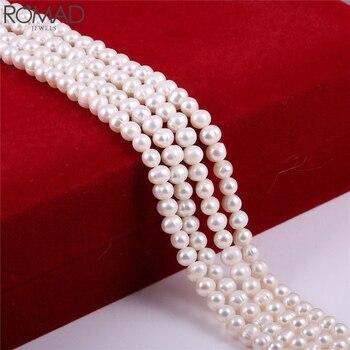 Cuentas de perlas naturales ROMAD para hacer joyas, collar de perlas redondas para mujeres, perlas de agua dulce, perlas blancas rosadas, perlas a granel R5