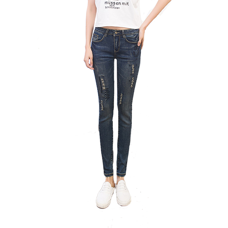 woman casual Blue Skinny Jeans High Waist Denim Pants Pencil Jeans  street fashion  Femme boyfriend jeans for women thunder star women flower printed skinny jeans femme plus size female 2017 ladies blue denim pencil pants casual brand fashion