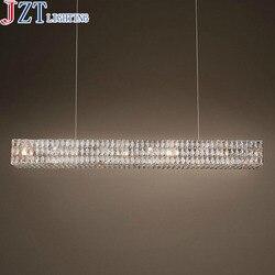 ZYY New Arrival prostokątny kryształ E14 lampa wisząca Customizabl twórczej sztuki dekoracyjna lampa restauracja gość luksusowe światła