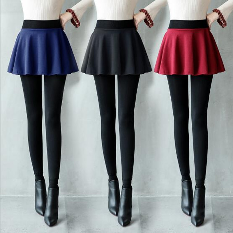 WKOUD One Piece Women Leggings Winter Warm Thickening Skirts Leggings Fleeces Skinny Pants High Waist Skirt Legging P8121