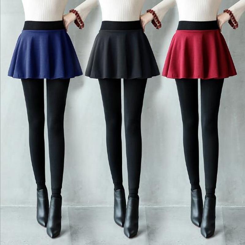 WKOUD One Piece Women Leggings Winter Warm Thickening Skirts Leggings Fleeces Skinny Pants High Waist Skirt Legging P8121