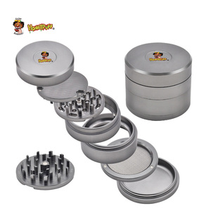HONEYPUFF Aircraft Aluminum Herb Grinder 63MM 4 Piece Tobacco Grinders with Removable Diamond Teeth Screen Smoke Pipe Accessory(China)