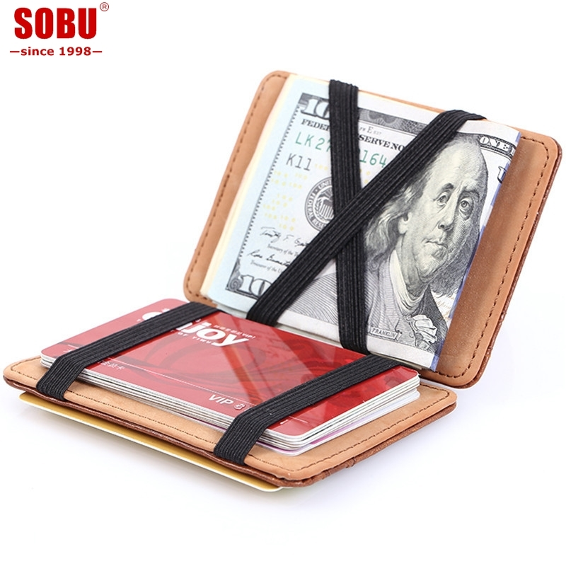 Fashion Men Slim Wallet Male Ultra Thin Short Men Magic Wallet Money Cash Card Holder Purse T015
